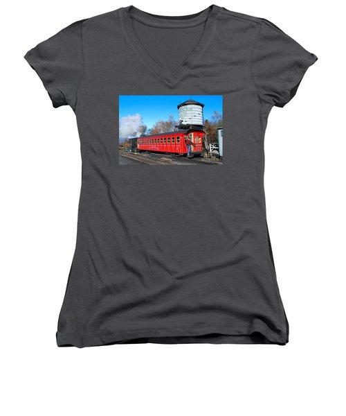 Mount Washington Cog Railway Car 6 Women's V-Neck