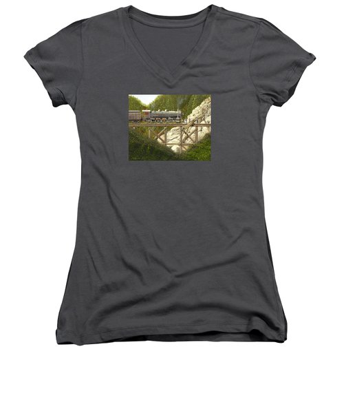 Women's V-Neck T-Shirt (Junior Cut) featuring the painting Mountain Impasse by Gary Giacomelli