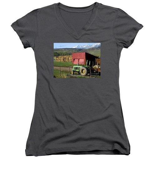 Mountain Living Women's V-Neck T-Shirt (Junior Cut) by Fiona Kennard