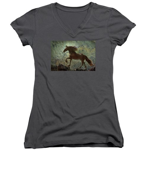 Mountain Majesty Women's V-Neck T-Shirt (Junior Cut) by Melinda Hughes-Berland