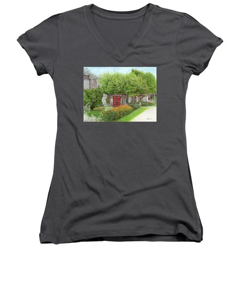 Women's V-Neck T-Shirt (Junior Cut) featuring the painting Mountain Playhouse Jennerstown Pa by Albert Puskaric