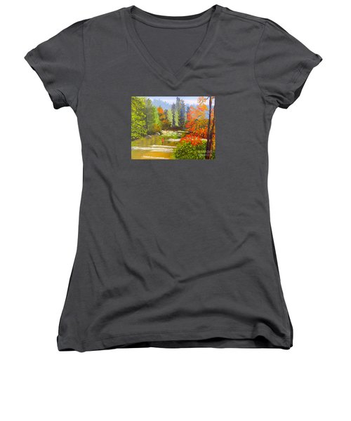 Women's V-Neck T-Shirt (Junior Cut) featuring the painting Mountain Stream by Pamela  Meredith