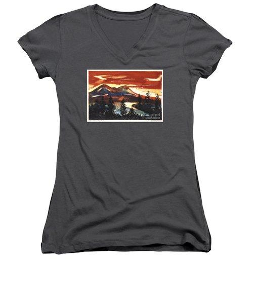 Mountain Sunset Women's V-Neck