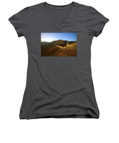 Mountains And The Great Wall Of China Women's V-Neck