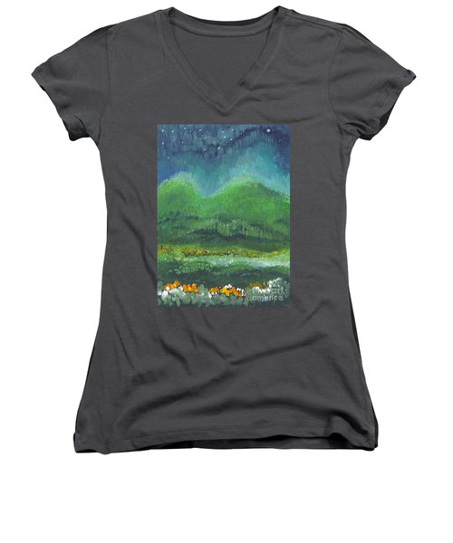 Mountains At Night Women's V-Neck