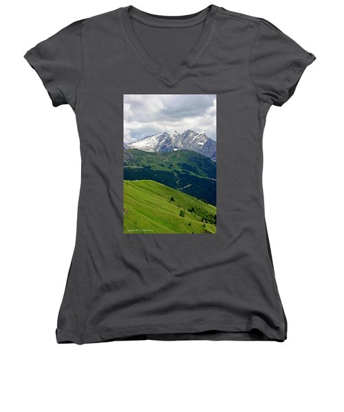 Mountains Women's V-Neck T-Shirt (Junior Cut) by Leena Pekkalainen