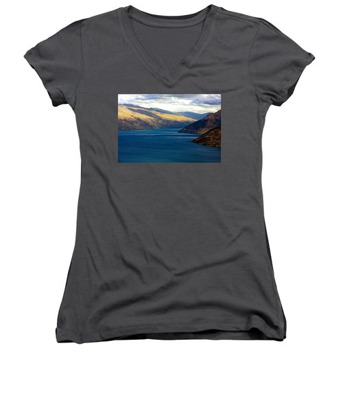 Women's V-Neck T-Shirt (Junior Cut) featuring the photograph Mountains Meet Lake #2 by Stuart Litoff
