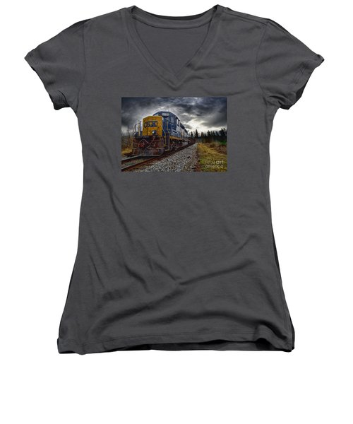 Women's V-Neck T-Shirt (Junior Cut) featuring the photograph Moving Along In A Train Engine by Melissa Messick