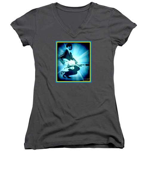 Mr Chuck Berry Blueberry Hill Style Edited 2 Women's V-Neck T-Shirt (Junior Cut) by Kelly Awad