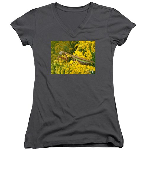 Women's V-Neck T-Shirt (Junior Cut) featuring the photograph Mr. Mantis by Sara  Raber