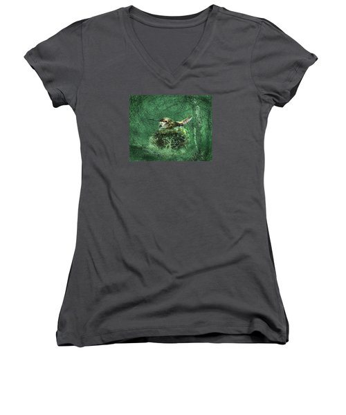 Women's V-Neck T-Shirt (Junior Cut) featuring the photograph Mrs. Rufous by I'ina Van Lawick