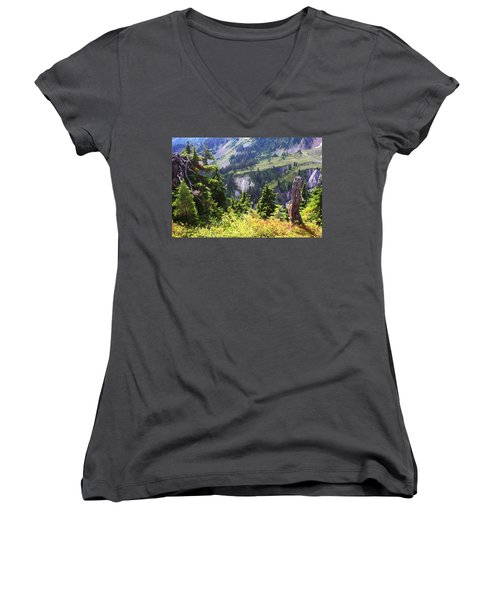 Mt. Baker Washington Women's V-Neck (Athletic Fit)