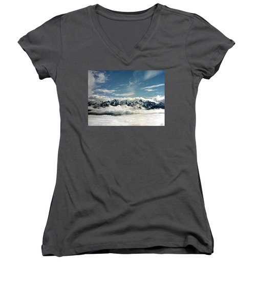 Women's V-Neck T-Shirt (Junior Cut) featuring the photograph Mt Olympus by Greg Reed
