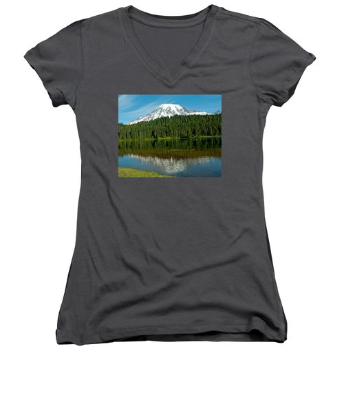 Women's V-Neck T-Shirt (Junior Cut) featuring the photograph Mt. Rainier II by Tikvah's Hope