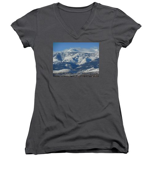 Mt Rose Reno Nevada Women's V-Neck T-Shirt (Junior Cut) by Dan Whittemore