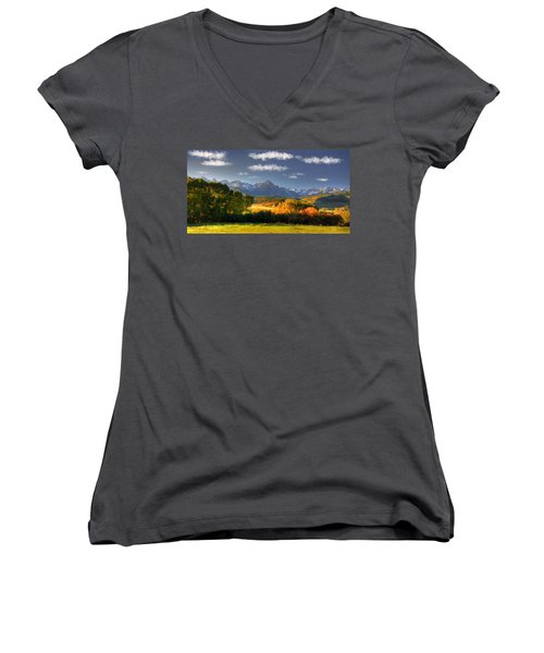 Mt Sneffels And The Dallas Divide Women's V-Neck T-Shirt (Junior Cut) by Ken Smith