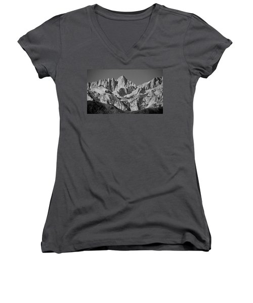 Mt. Whitney In Black And White Women's V-Neck T-Shirt (Junior Cut) by Eric Tressler