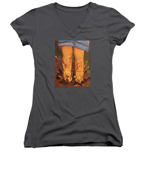 Mud Puddle Fun Women's V-Neck (Athletic Fit)