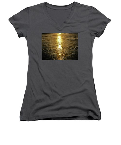 Women's V-Neck T-Shirt (Junior Cut) featuring the photograph Muddy Reflection by Jeremy Rhoades