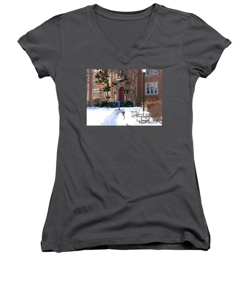 Women's V-Neck T-Shirt (Junior Cut) featuring the photograph Abstract - Red Door Of Ettinger by Jacqueline M Lewis