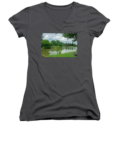 Muller Chapel Pond Ithaca College Women's V-Neck T-Shirt