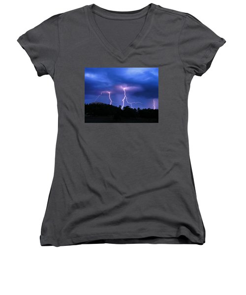 Women's V-Neck T-Shirt (Junior Cut) featuring the photograph Multi Arc Lightning Strike by Craig T Burgwardt
