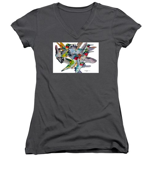 Da053 Multi-hummers By Daniel Adams Women's V-Neck (Athletic Fit)