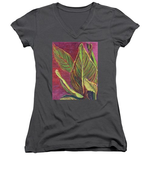 Multicolor Leaves Women's V-Neck T-Shirt