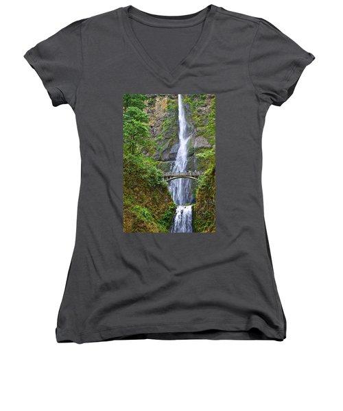 Multnomah Falls 4 Women's V-Neck T-Shirt
