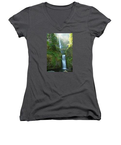 Multnomah Falls Women's V-Neck T-Shirt (Junior Cut) by Christiane Schulze Art And Photography