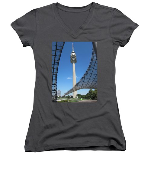 Women's V-Neck T-Shirt (Junior Cut) featuring the photograph Munich Olympic Tower by Pema Hou