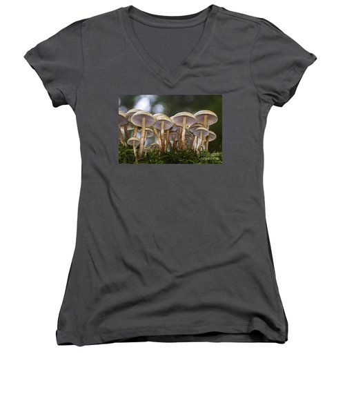 Mushroom Forest Women's V-Neck T-Shirt (Junior Cut) by Sonya Lang