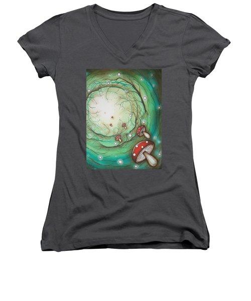 Mushroom Time Tunel Women's V-Neck T-Shirt
