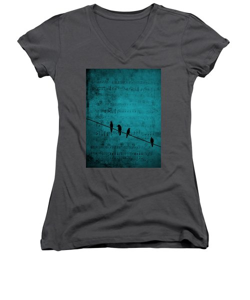 Music Soothes The Soul Women's V-Neck T-Shirt (Junior Cut) by Andrea Kollo