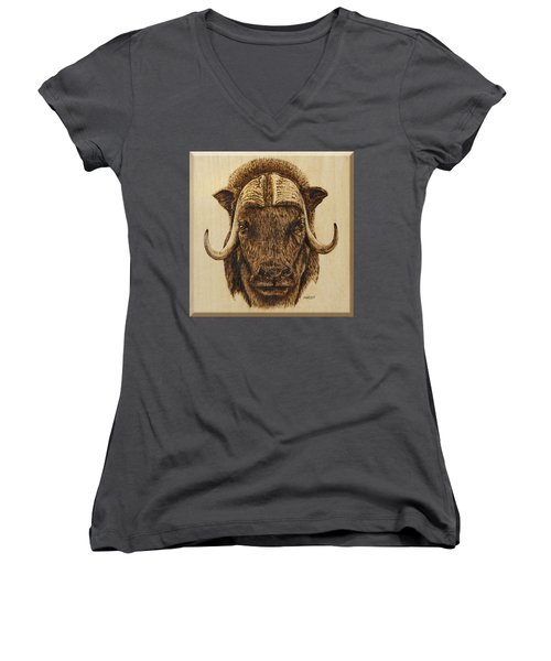 Women's V-Neck T-Shirt (Junior Cut) featuring the pyrography Muskox by Ron Haist