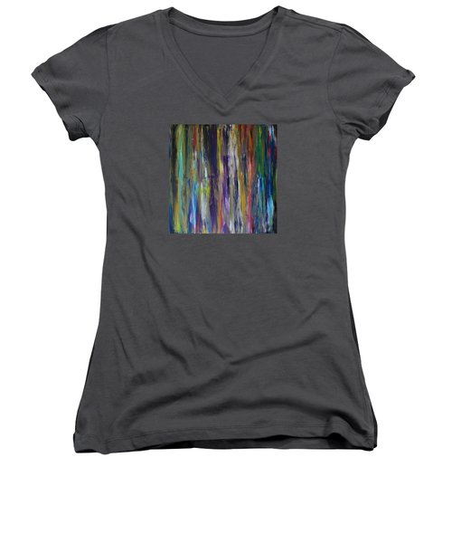 Women's V-Neck T-Shirt (Junior Cut) featuring the painting Must First Survive Thyself by Michael Cross