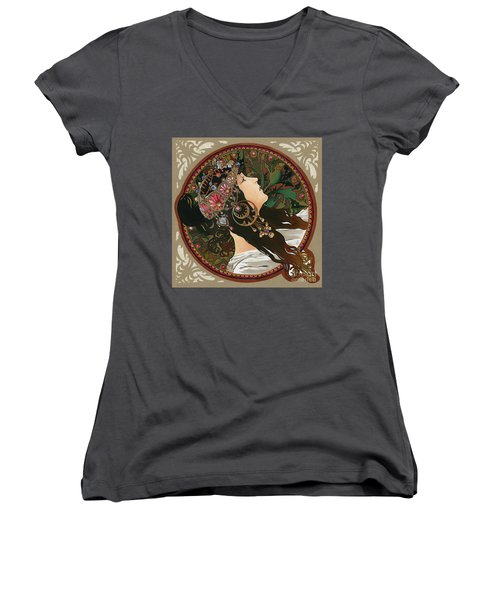 My Acrylic Painting As Interpretation Of Alphonse Mucha - Byzantine Head The Brunette Diagonal Frame Women's V-Neck T-Shirt (Junior Cut) by Elena Yakubovich