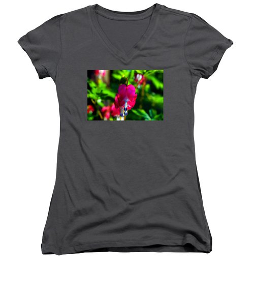 Women's V-Neck T-Shirt (Junior Cut) featuring the photograph My Bleeding Heart by Peggy Franz