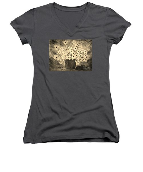 My Daisies Sepia Version Women's V-Neck T-Shirt (Junior Cut) by Ramona Matei