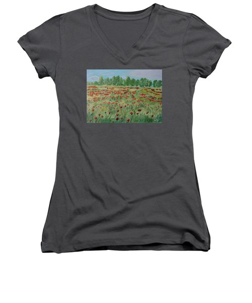 My Poppies Field Women's V-Neck (Athletic Fit)