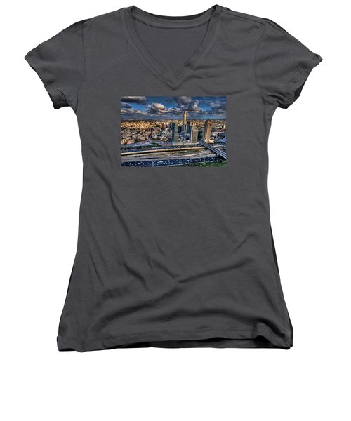 Women's V-Neck T-Shirt featuring the photograph My Sim City by Ron Shoshani