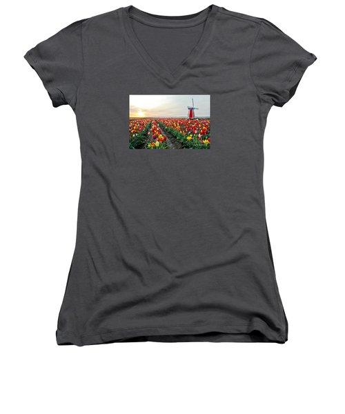 My Touch Of Holland 2 Women's V-Neck T-Shirt (Junior Cut) by Nick  Boren