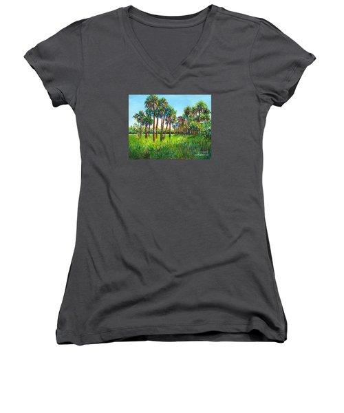 Women's V-Neck T-Shirt (Junior Cut) featuring the painting Myakka Palms by Lou Ann Bagnall