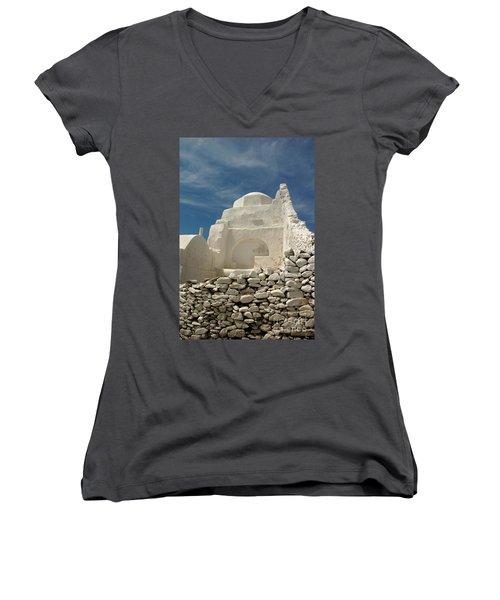 Mykonos Church Women's V-Neck T-Shirt (Junior Cut) by Vivian Christopher