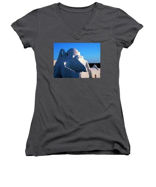 Women's V-Neck T-Shirt (Junior Cut) featuring the photograph Mykonos Island Greece by Colette V Hera  Guggenheim
