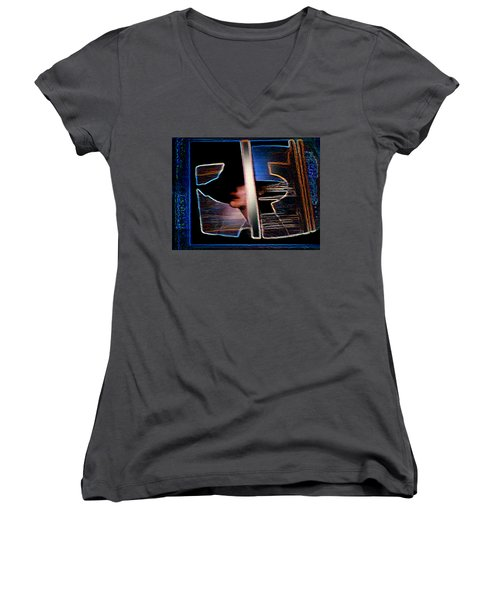 Mysterious Lady Women's V-Neck T-Shirt (Junior Cut) by Hartmut Jager