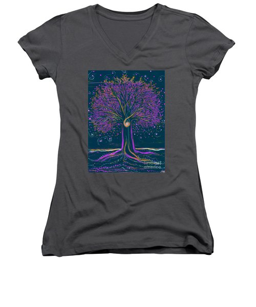 Mystic Spiral Tree 1 Purple Women's V-Neck (Athletic Fit)