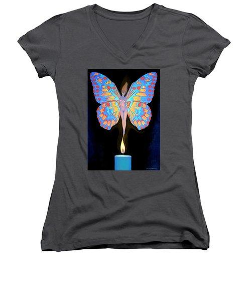 Naked Butterfly Lady Transformation Women's V-Neck