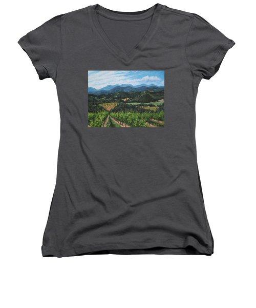 Napa Valley Vineyard Women's V-Neck T-Shirt