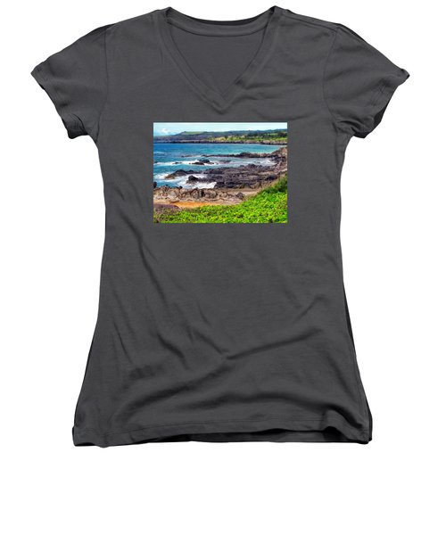 Napili 70 Women's V-Neck T-Shirt (Junior Cut) by Dawn Eshelman